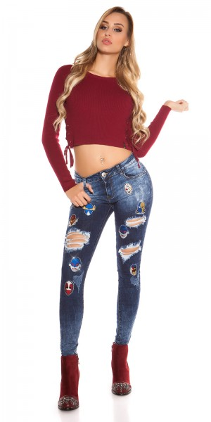 Sexy Skinny Jeans Used Look mit Masken Patches
