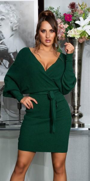 Sexy Verspieltes V-Ausschnitt Strickkleid m.Gürtel
