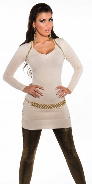 Sexy KouCla Longpulli mit goldenen Perlen