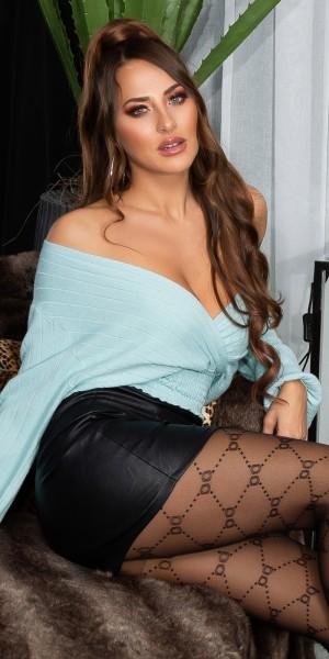 Sexy V-Ausschnitt Kurzer Feinstrick Pullover