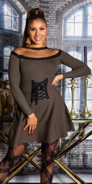 Sexy KouCla Strickkleid mit Mesh & Korsett Detail