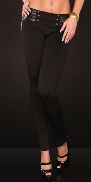 Sexy Treggings mit Lederlook u. Knöpfen