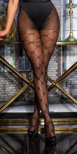 Trendy Strumpfhose mit Netz Muster