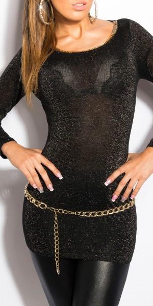Sexy KouCla Lurex-Pulli mit Rücken-Ausschnitt