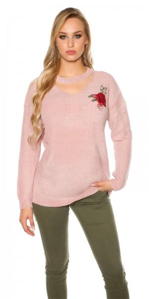 Trendy Grobstrick Pulli mit Blumenstickerei