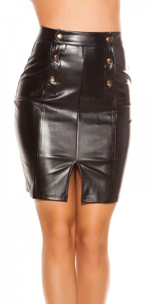 Sexy Lederlook Minirock Highwaist