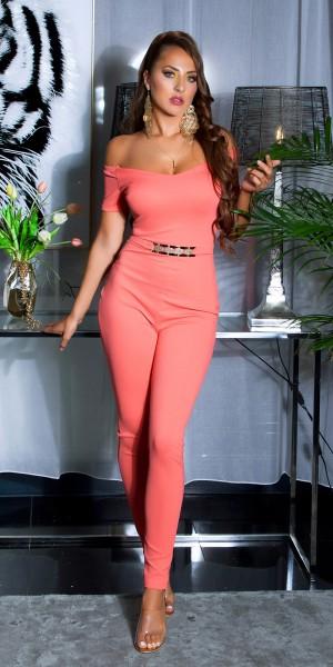 Sexy Overall mit Goldschnalle & Carmen Ausschnitt