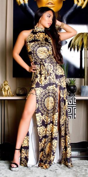 Sexy Maxi Neck Kleid mit Print