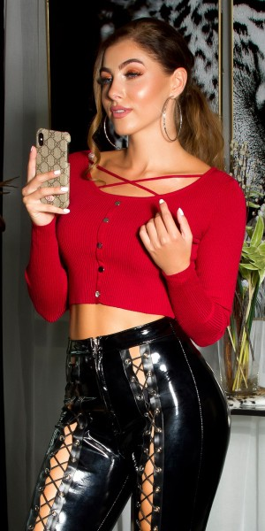 Sexy cropped Strick Pulli