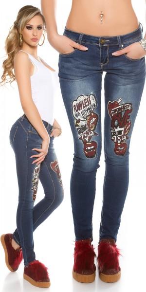 Sexy KouCla PuSH UP Skinny Jeans  mit Comic Print