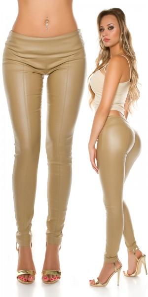 Sexy KouCla Lederlook Hose mit Ziernähten