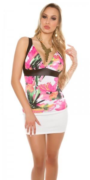 Sexy Trägertop mit V-Neck und Blumendesign