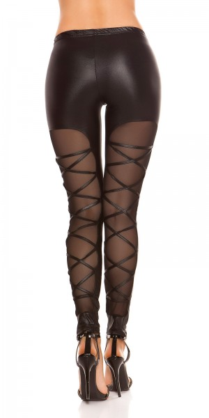 Sexy KouCla Leggings mit Netzeinsatz hinten