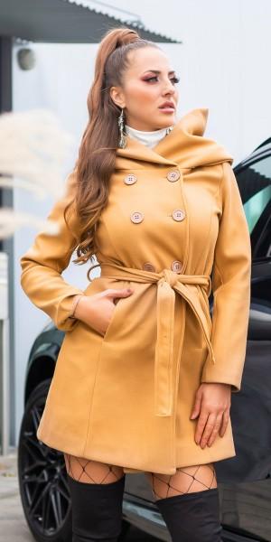 Sexy Kurz Mantel mit Gürtel und Kapuze