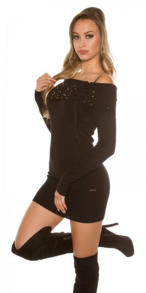 Sexy Strick-Minikleid, mit Nieten besetzt