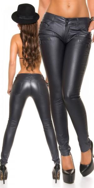 Sexy Lederlook Hose mit Zip Taschen