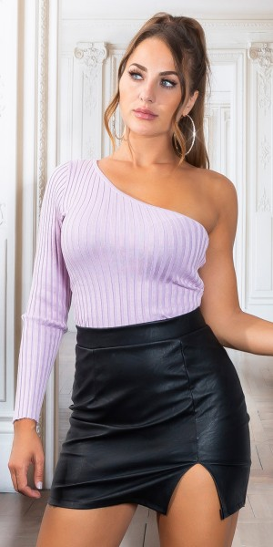 Sexy Gerippter One-Shoulder Pulli