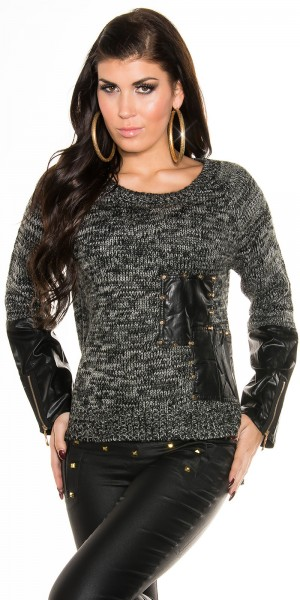 Sexy Strickpulli mit Lederlook applikationen