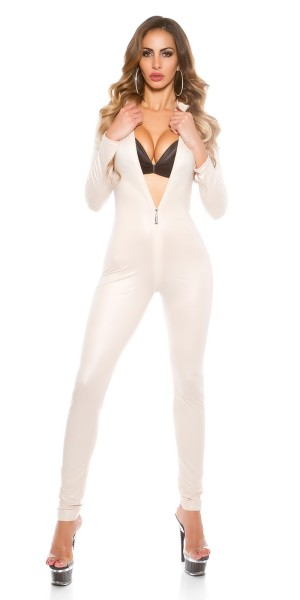Sexy KouCla 2 Way Zip Wetlook Print Catsuit