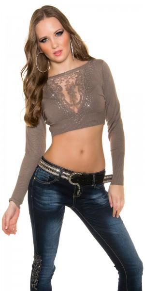 Sexy KouCla Crop Pullover mit Strass und Spitze