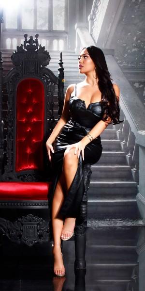 Sexy Lederlook Maxi Kleid Gepolstert