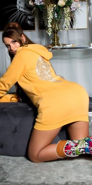 Sexy Sweatshirt Kleid mit Glitzer Flügeln
