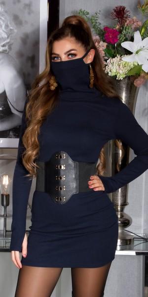 Trendy Figurbetontes Kleid m. Intergrierter Maske