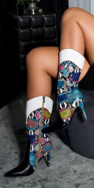 Sexy Bunte Cowgirl Snake Stiefel