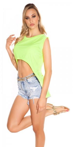 Sexy KouCla Highlow Crop Shirt Neon