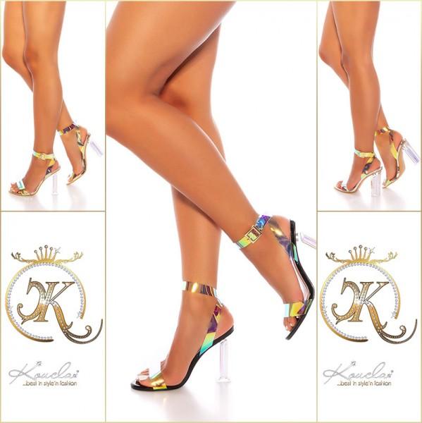 Sexy Blockabsatz  High Heels mit Unicorn-Riemchen