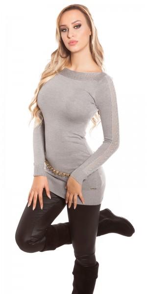 Sexy KouCla-Pullover, mit Nieten und Spitze