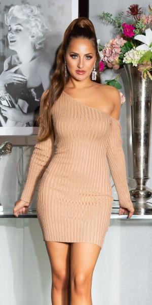 Sexy Geripptes One-Shoulder Strickkleid