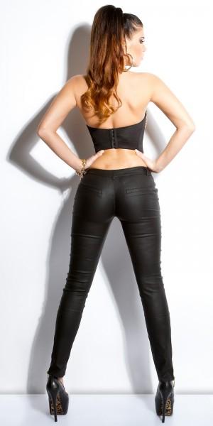 Sexy KouCla Lederlook-Pants  mit goldenen Zips